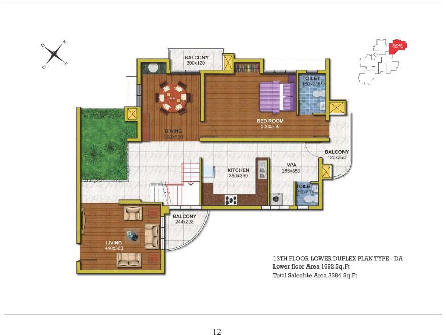 13th floor Lower Duplex type DA