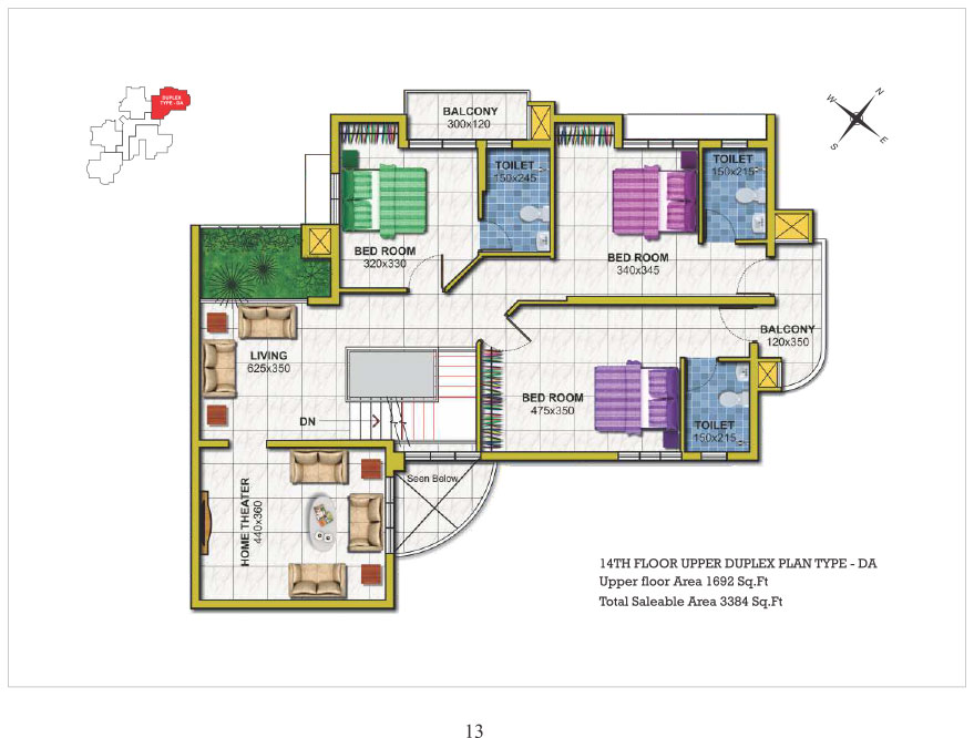 14th floor Upper Duplex type DA