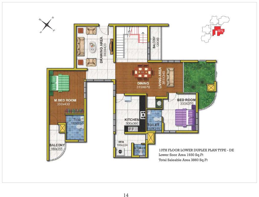 13th floor Lower Duplex type DE