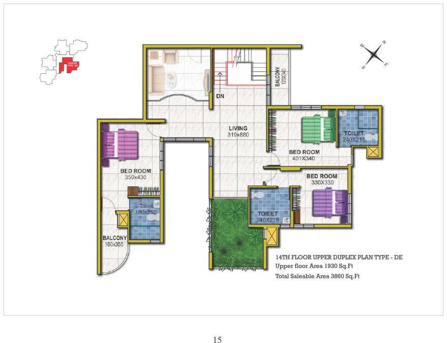 14th floor Upper Duplex type DE