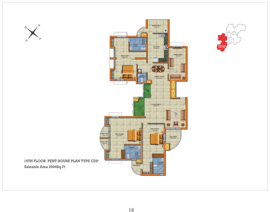 Penthouse 15th floor type CDP