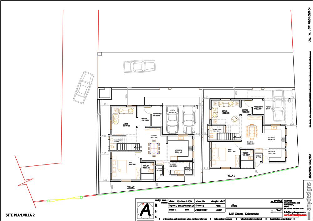 Site plan with-villa1 and villa 2